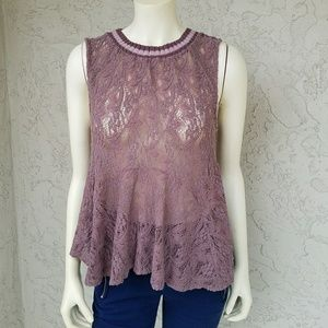 Free People Taupe Sleeveless Lace Flowy Top